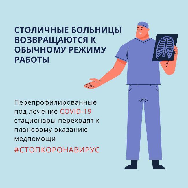 Перепрофилированные под лечения COVID-19 медучреждения обычной работе